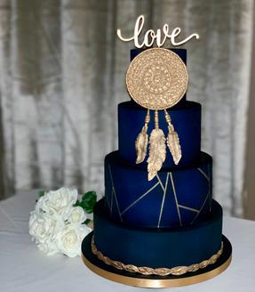 Boho Navy & gold geometric wedding cake with dreamcatcher