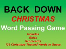 Back Down Word Christmas Passing Game