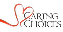 red heart with black text caring choices