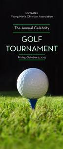 Picture of Golf tournament brochure showing a golf ball in a tee with black background.