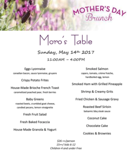 Moro's Table Mother's Day Brunch