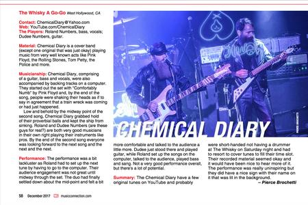 Music Connection Magazine Live Review of Chemical Diary - December 2017