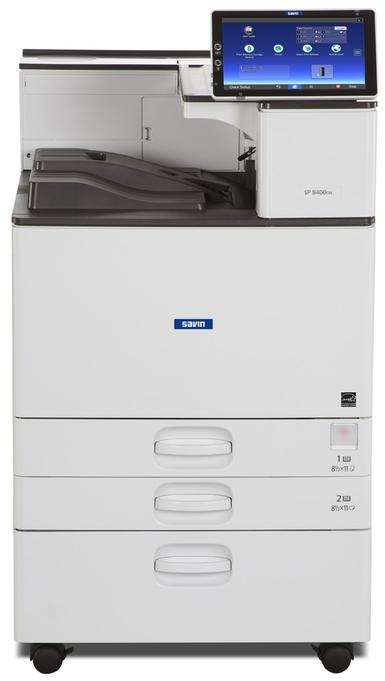 "Ricoh/Savin SP 8400DN 12"" x 17"" capable black and white printer, affordable, fast, business-class, consistent, 60 page per minute print speeds, 10.1"" Smart Operation Panel, Optional Multi-Fold Unit, 4-bin mailbox, External Stapler Finisher, or Cabinet. Also offers USB/SD card printing, 1200 by 1200 dpi print resolution, mobile printing, smartphone and tablet printing, low price, budget friendly, small office, large office, large workgroup device sold by Cedar Rapids Photo Copy, Inc. (CRPC, Inc.) in local Cedar Rapids, Iowa. Eastern Iowa/Corridor area's leader in office printing technology and general office technology since 1965."