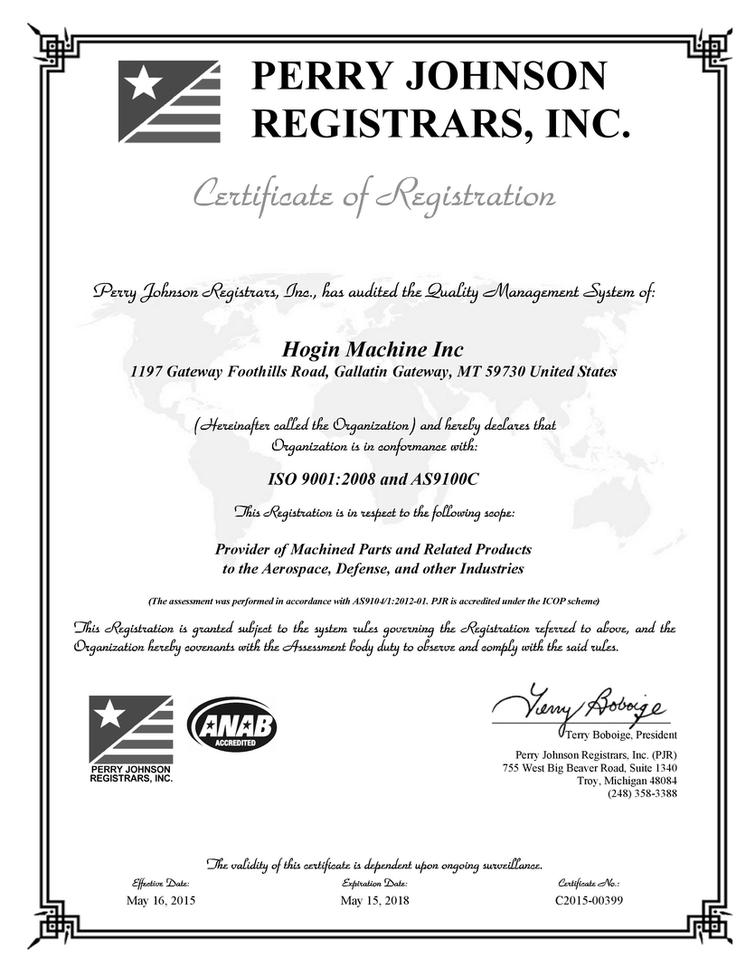 ISO 9001:2008 and AS9100C Certifications