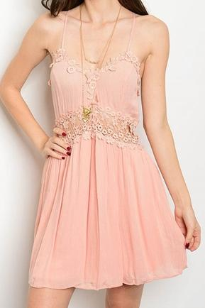Peach Lace Crochet Dress