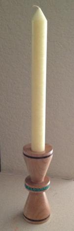 Maple candle holder with Magnasite and Obsidian inlays