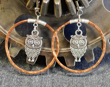Copper Cradle Earrings with Owls