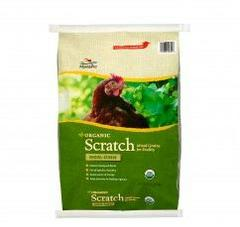 Organic Scratch has a mixture of approximately 80% crack corn, 10% of wheat and 10% milo, Non GMO.