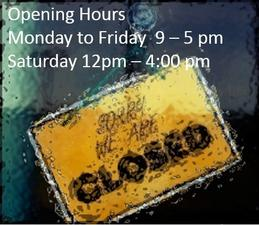 Opening Hours sign Shop Bury