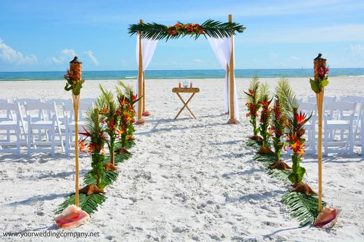 Tropical Beach Wedding Ceremony in Lido Beach, Florida