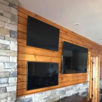 Three TVs mounted to one wall, Charlotte TV mounting service, Carolina Custom Mounts