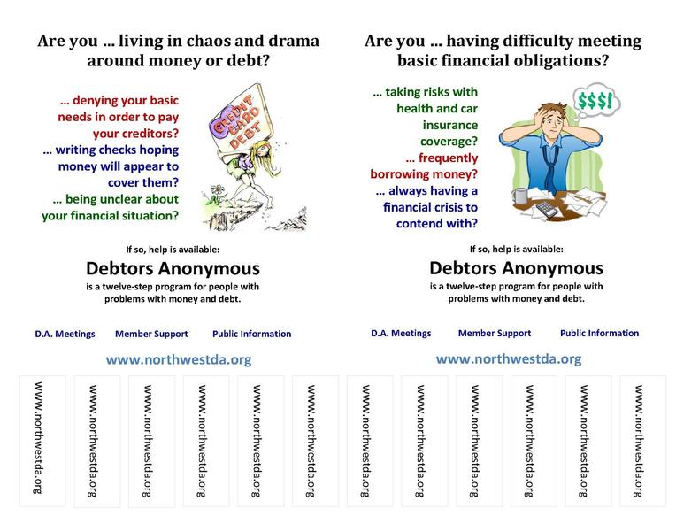 northwest debtors anonymous tear off flyers for posting