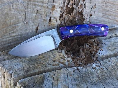 Custom etched textured knife with purple rain acrylic handles. www.DIYeasycrafts.com