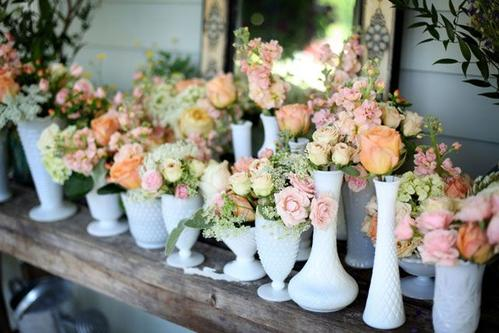 Milk Glass Bud Vases filled with flowers