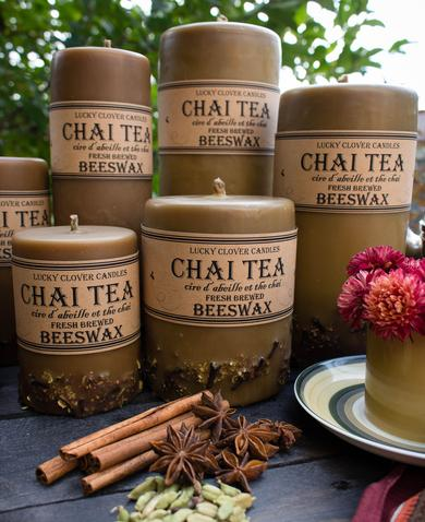 Chai Tea Beeswax Candles, Beeswax Candles Canada, Hand Made, Lucky Clover Candles