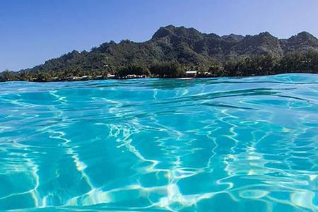 Image of blue lagoon on Rarotonga, Cook Islands