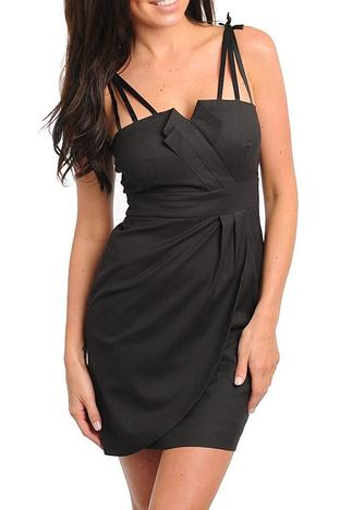 Black Satin Tri-Strap Little Black Dress