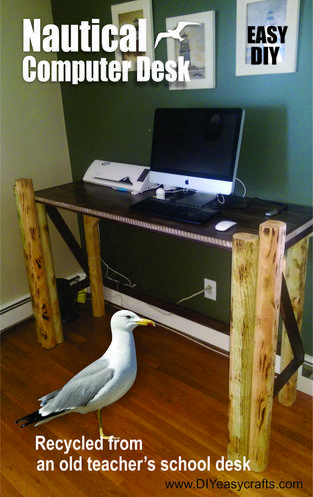 How to recycle an old desk and make it into a nautical computer stand. Easy DIY project. www.DIYeasycrafts.com