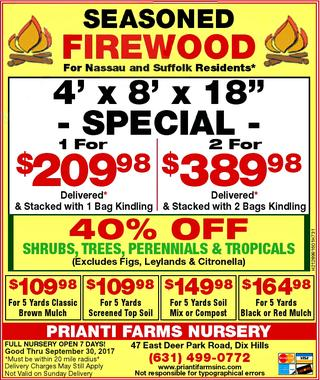 Prianti Firewood Sale Specials Bulk Delivery Long Island