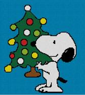 Cross Stitch Chart Pattern of Snoopy and His Xmas Tree