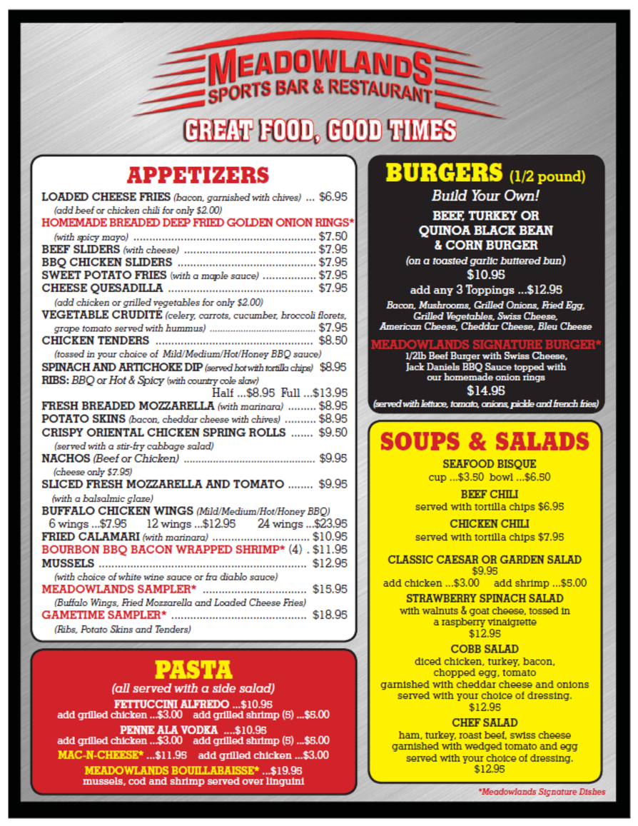 Food menu meadowlands sports bar and restaurant for Food bar menu