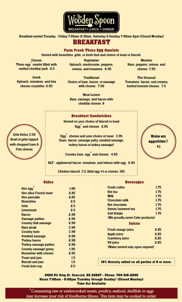 The Wooden Spoon Breakfast Menu