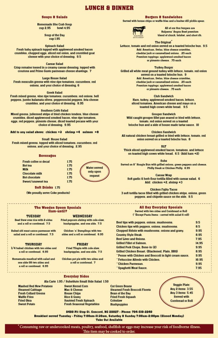 The Wooden Spoon Lunch and Dinner Menu