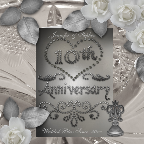 Elegant punched tin look printed 10th Wedding Anniversary greeting card