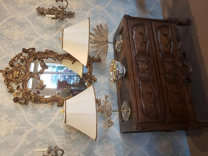 antique mirror (sold), antique vintage relilic table lamps dressing drawers furniture