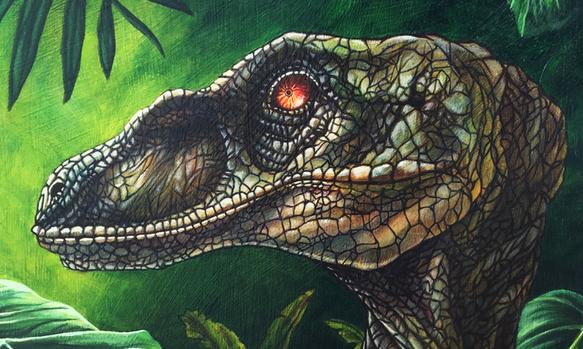 Acrylic painting of Velociraptor in natural habitat