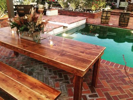 Custom rustic farm bench rentals from Rustic Parties Orange County Southern California