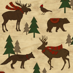 Woodland Retreat Animal Flannel Christmas Flannel Cabin Fabric