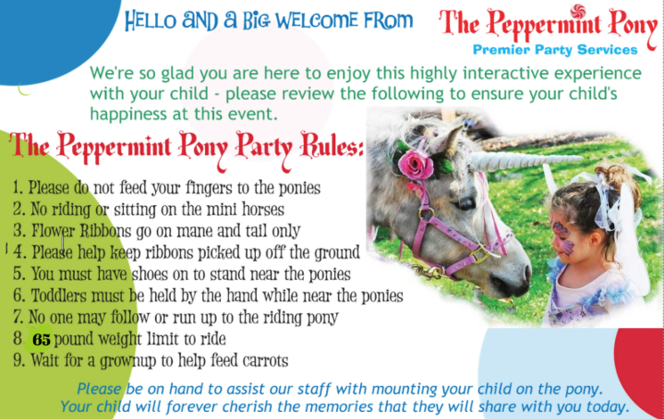 The Peppermint Pony Rules card for our Pony Parties