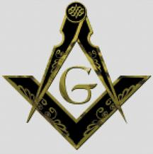 Cross Stitch Chart Pattern of Freemasons Logo in Black and Gold
