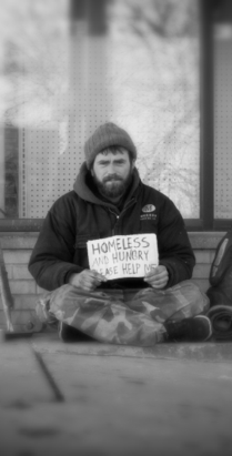 Hungry Homeless Man
