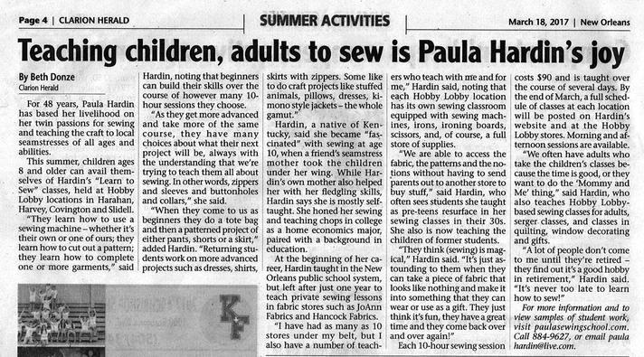 Paula Hardin's Sewing Classes