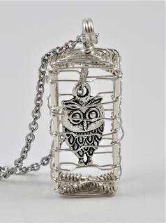 Sterling Silver Wire Caged Owl Pendant