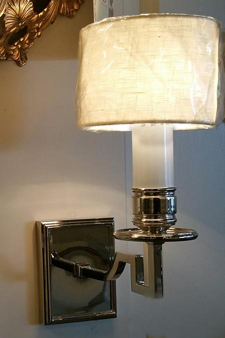 New 1 arm chrome nickel brass electric wall mount sconce with white candle cover sleeve and white off bone cream linen shade