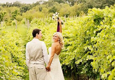 Wedding Day walk down the Vineyard Aisle at Villa Bellezza in Lake Pepin WI