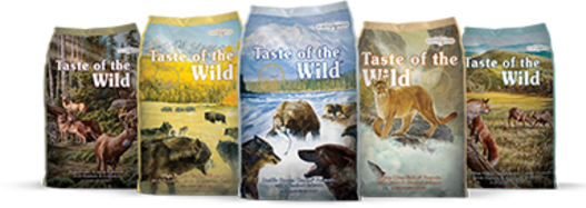 Taste of the Wild premium dog food, rated 5 stars, click for individual flavor