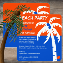 Tropical Orange and Blue Palm Tree Beach Birthday Party