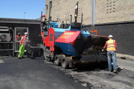 National Grid paving machine tarmac