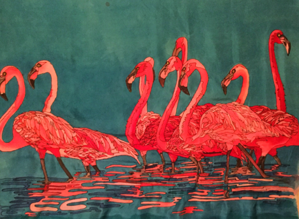 Flamingo Wild Animal Park, Silk Painting, Tracy Harris, San Diego