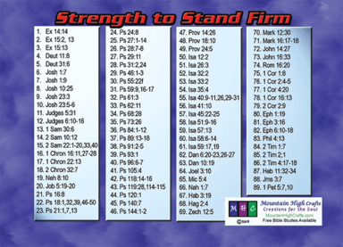 Strength To Stand Firm Greeting Card, back w/Bible Study