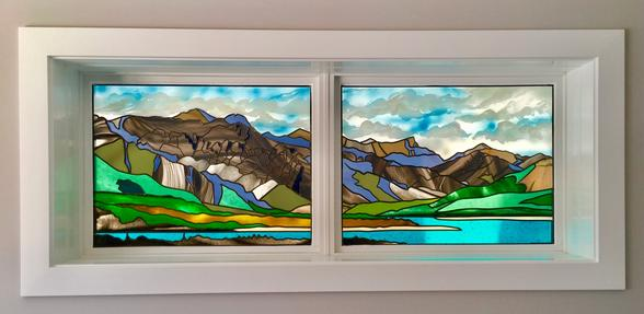 stained glass overlay, overlay glass, sandblasted glass, lake abraham, mountain scene, stained glass calgary, painted glass