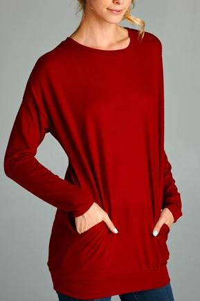 Red Tunic Sweater With Pockets