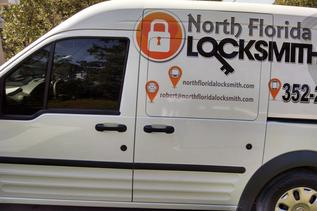 A vehicle used by locksmiths in Brooksville and Spring Hill, FL