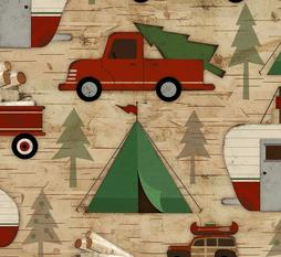 Red Truck Flannel Woodland Retreat Cabin Fabric Camping Flannel