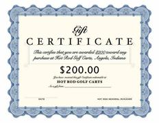 Holiday Gift Certificate for sale, Hot Rod Golf Cart