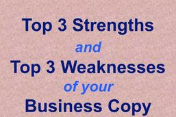 Top Three Strengths and Weaknesses of Your Business Copy custom text critique
